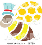 Vector of Male Bee Flying and Wearing a Hat by Cherie Reve