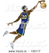 Vector of Male Black Basketball Athlete Jumping with the Ball by AtStockIllustration