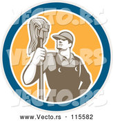 Vector of Male Janitor with a Mop in a Blue White and Yellow Circle by Patrimonio