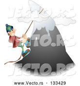 March 21st, 2018: Vector of Male Mountain Climber Climbing a Snow Capped Mountain by AtStockIllustration