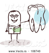 Vector of Male Stick Dentist Holding a Tooth by NL Shop