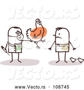 Vector of Male Stick Veterinarian Vaccinating a Guy's Chickens by NL Shop
