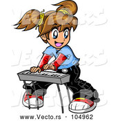 Vector of Manga Girl Playing a Keyboard by Clip Art Mascots