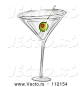 Vector of Martini Cocktail with a Green Olive by BNP Design Studio