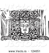 Vector of Mayan Face Carved in a Statue Black and White Woodcut by Xunantunich