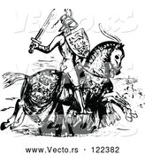 Vector of Medieval Knight on Horseback - Black and White by Prawny Vintage