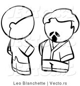 Vector of Men Talking - Coloring Page Outlined Art by Leo Blanchette