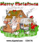 Vector of Merry Christmas Greeting over Chickens a Cow and Pig Using a Smoker at a Bbq Shack by LaffToon