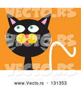 Vector of Mischievous Black Cat with Gray Stripes, Looking Upwards and to the Side While Thinking of Getting into Trouble by Venki Art