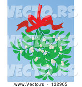 Vector of Mistletoe Bundle Hanging from a Red Bow by Rasmussen Images