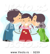 Vector of Mom and Dad Kissing Their Happy Daughter on Her Cheeks by BNP Design Studio