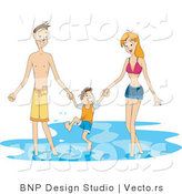 Vector of Mom, Dad and Son Playing in the Ocean Water by BNP Design Studio