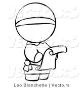 Vector of Monk Reading a Scroll Letter - Coloring Page Outlined Art by Leo Blanchette