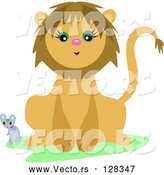 Vector of Mouse and a Friendly Lion by Bpearth