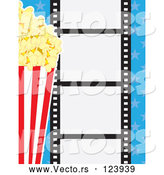 Vector of Movie Film Strip with Buttered Popcorn and Blue Stars by Maria Bell