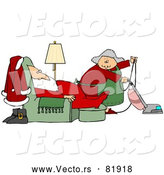 Vector of Mrs. Claus Vacuuming Around Tired Santa by Djart