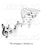 Vector of Music Notes Forming a Tornado of Sound and Audio - Black and White by TA Images