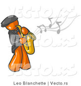 Vector of Musical Orange Guy Playing Jazz with a Saxophone by Leo Blanchette