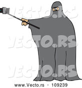 Vector of Muslim Woman Wearing a Burka and Taking a Selfie by Djart