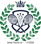 Vector of Navy Blue Crown over a Tennis Ball and Racket Shield in a Green Wreath by Vector Tradition SM