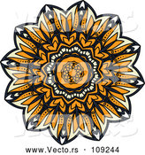 Vector of Navy Blue, Orange and Pastel Yellow Kaleidoscope Flower by Vector Tradition SM