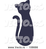 Vector of Navy Blue Silhouetted Sitting Cat by Cherie Reve