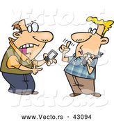 Vector of Nerdy Cartoon Tech Guys Debating over Gadgets by Toonaday