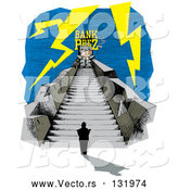 Vector of Nervous Person at the Bottom a Long Stretch of Stairs with a Bank President at the Top, Surrounded by Lightning by Andy Nortnik
