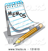 "Vector of Notepad with Lined Pages with ""Memos"" Written on the Front, Resting by a Yellow Number Two Pencil with an Eraser by Andy Nortnik"
