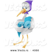 Vector of Nurturing Cartoon Stork Cradling a Baby in a Blue Blanket by BNP Design Studio