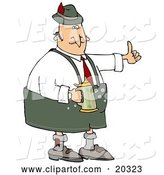 Vector of Oktoberfest Guy Giving the Thumbs up and Drinking Beer from a Stein at a Party by Djart