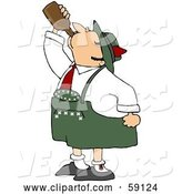 Vector of Oktoberfest Guy Guzzling Beer from a Brown Bottle by Djart