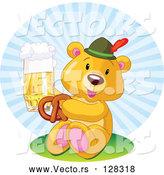 Vector of Oktoberfest Teddy Bear Eating a Pretzel and Drinking Beer by Pushkin