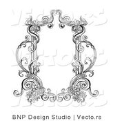 Vector of Old Black and White Victorian Blank Text Box Frame by BNP Design Studio