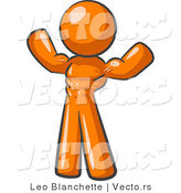 Vector of Orange Bodybuilder Guy Flexing His Muscles and Showing the Definition in His Abs, Chest and Arms by Leo Blanchette
