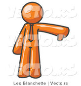 Vector of Orange Business Guy Giving the Thumbs up Then the Thumbs down by Leo Blanchette