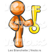 Vector of Orange Business Guy Holding a Large Golden Skeleton Key, Symbolizing Success by Leo Blanchette