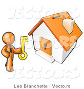 Vector of Orange Business Guy Holding a Skeleton Key and Standing in Front of a House with a Coin Slot and Keyhole by Leo Blanchette