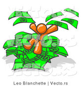 Vector of Orange Business Guy Jumping in a Pile of Money and Throwing Cash into the Air by Leo Blanchette