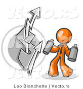 Vector of Orange Business Guy Spray Painting a Graffiti Dollar Sign on a Wall by Leo Blanchette