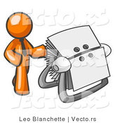 Vector of Orange Business Guy Standing Beside a Rotary Cards by Leo Blanchette