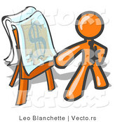 Vector of Orange Business Guy Standing by a Dollar Sign Puzzle on a Presentation Board During a Meeting by Leo Blanchette