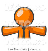 Vector of Orange Business Guy Wearing Tie by Leo Blanchette