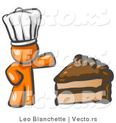 Vector of Orange Chef Guy Wearing a White Hat and Presenting a Tasty Slice of Chocolate Cake by Leo Blanchette