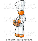 Vector of Orange Chef in Uniform and Chef's Hat, Stirring Ingredients in a Bowl by Leo Blanchette