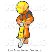 Vector of Orange Construction Worker Guy Wearing a Hardhat and Operating a Yellow Jackhammer While Doing Road Work by Leo Blanchette