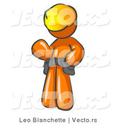 Vector of Orange Construction Worker Wearing Hardhat and Tool Belt While Waving Hello by Leo Blanchette