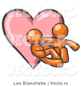 Vector of Orange Couple Embracing in Front of a Love Heart by Leo Blanchette