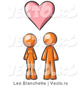 Vector of Orange Couple Under a Pink Love Heart by Leo Blanchette