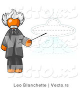 Vector of Orange Einstein Guy Pointing a Stick at a Presentation of a Flying Saucer by Leo Blanchette